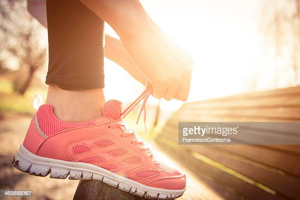 jogging shoes closeup - pink shoe stock pictures, royalty-free photos & images