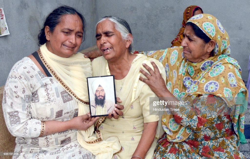 Joginder Kaur grieving the death of her son Gurcharan Singh who was killed in Iraq at Jalal Usma Village on March 20 2018 near Amritsar India The 39..