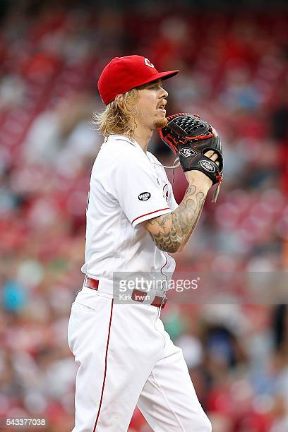 Joh Lamb of the Cincinnati Reds prepares to throw a pitch during the game against the San Diego Padres at Great American Ball Park on June 23 2016 in...
