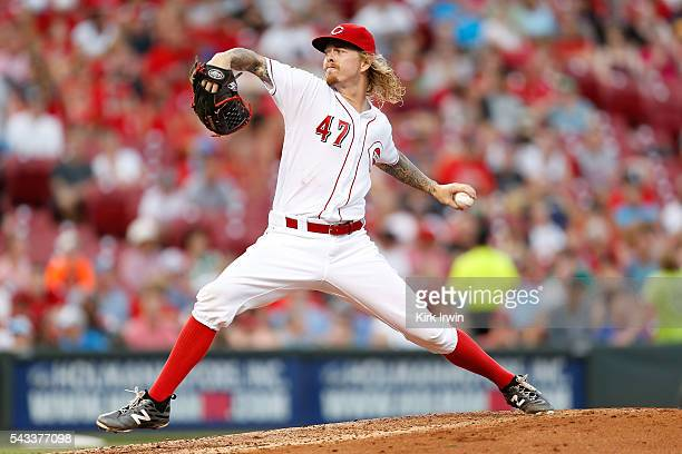 Joh Lamb of the Cincinnati Reds throws a pitch during the game against the San Diego Padres at Great American Ball Park on June 23 2016 in Cincinnati...