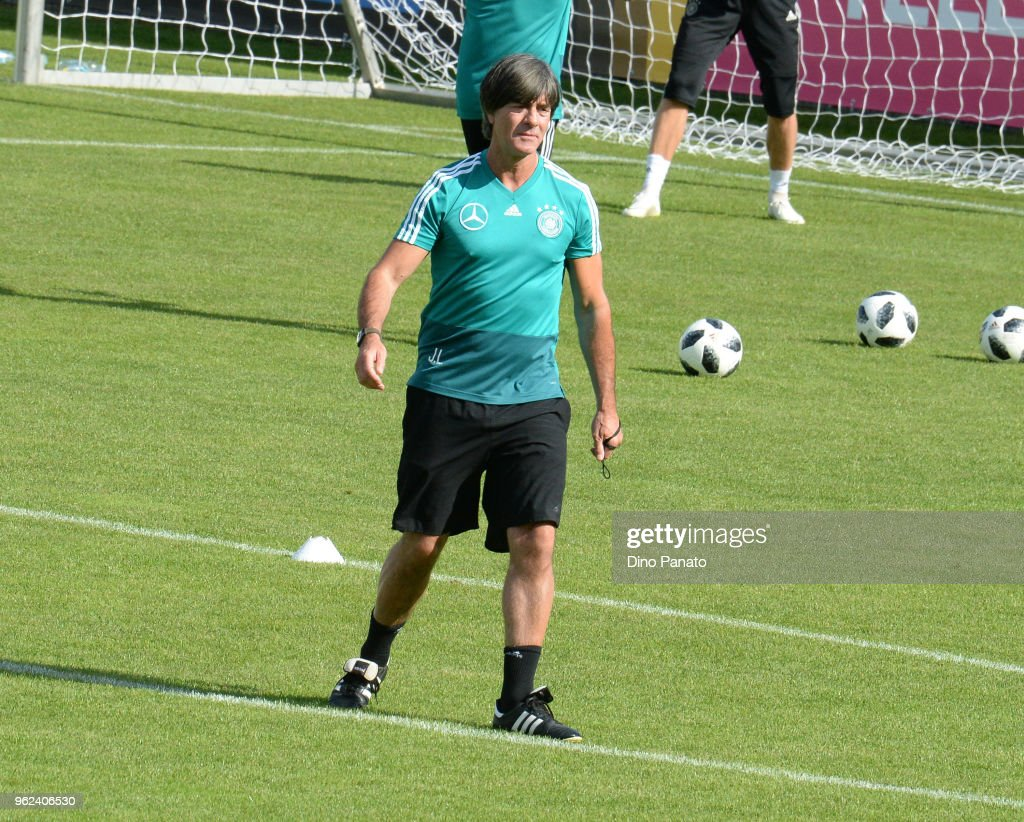Johachim Loew head coach of Germaniy with Players of Germany in generic action during training sechtion during the Southern Tyrol Training Camp day three at on May 25, 2018 in Bolzano, Italy.
