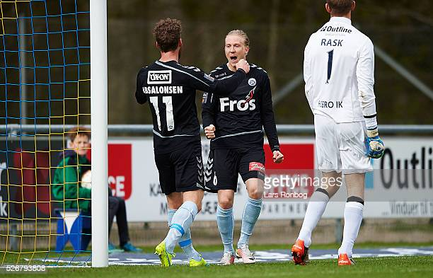 Johan Absalonsen and Simon Kroon of Sonderjyske celebrate after scoring their first goal during the Danish Alka Superliga match between Hobro IK and...