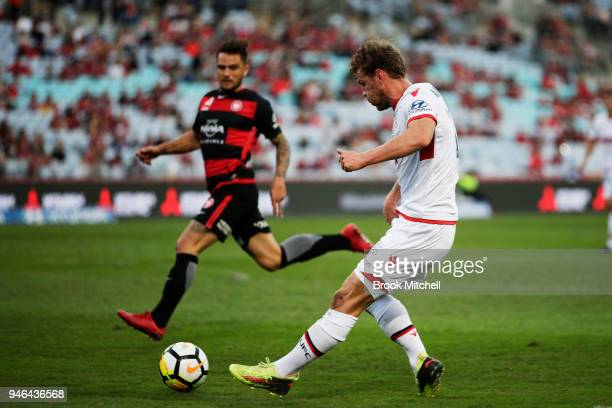 Johan Absalonsen of Adelaide United passes the ball during the round 27 ALeague match between the Western Sydney Wanderers and Adelaide United at ANZ...