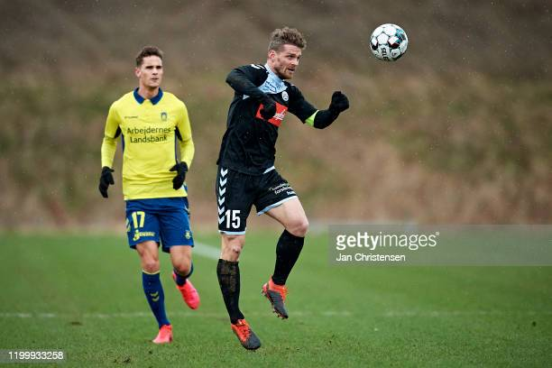 Johan Absalonsen of SonderjyskE in action during the testmatch between Brondby IF and SonderjyskE at Brondby Stadion on February 10, 2020 in Brondby,...
