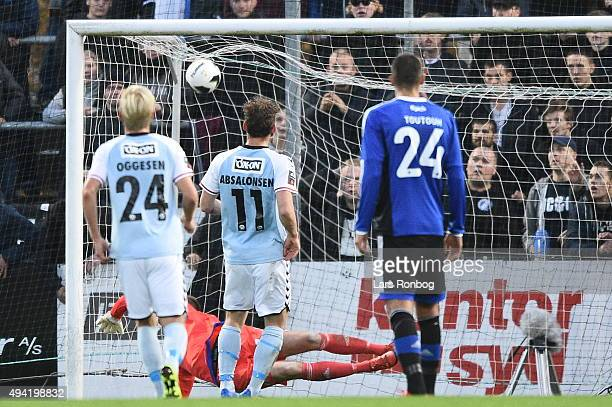 Johan Absalonsen of Sonderjyske scores the 10 goal against Goalkeeper Stephan Andersen of FC Copenhagen during the Danish Alka Superliga match...