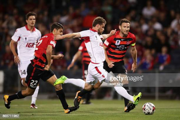 Johan Absalonsen of United scores the first goal during the FFA Cup Semi Final match between the Western Sydney Wanderers and Adelaide United at...