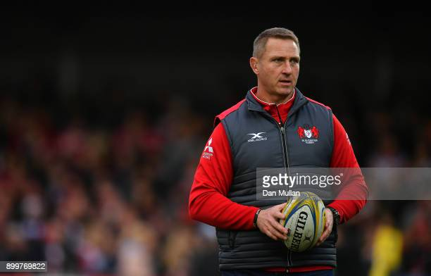 Johan Ackermann Head Coach of Gloucester looks on prior to the Aviva Premiership match between Gloucester Rugby and Sale Sharks Sharks at Kingsholm...