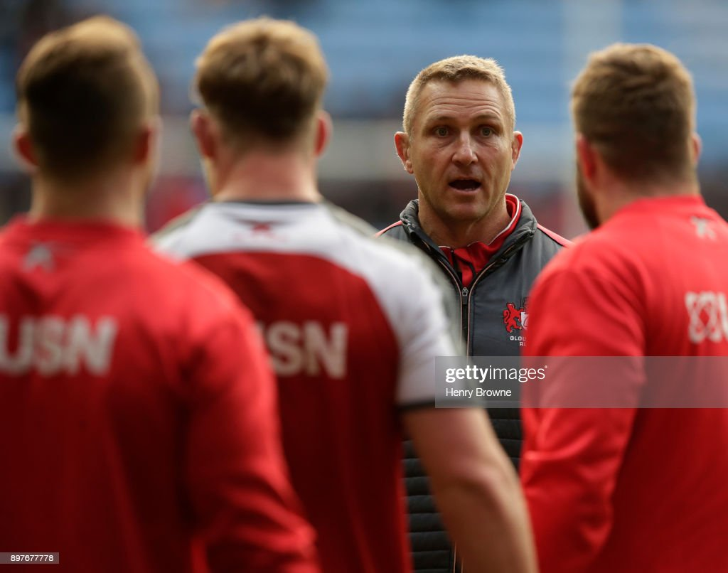 Johan Ackermann of Gloucester during the Aviva Premiership match between Wasps and Gloucester Rugby at The Ricoh Arena on December 23, 2017 in Coventry, England.