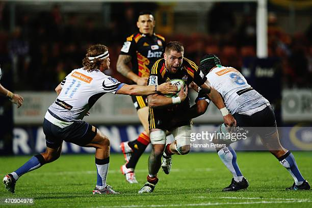 Johan Bardoul of the Chiefs charges forward during the round 11 Super Rugby match between the Chiefs and the Force at Waikato Stadium on April 24...