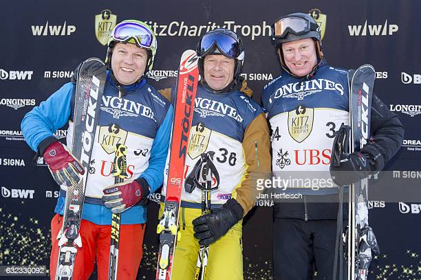 Johan Bergsgard Daniel Fahrer and Thomas Gut pose for a picture during the KitzCharityTrophy on January 21 2017 in Kitzbuehel Austria