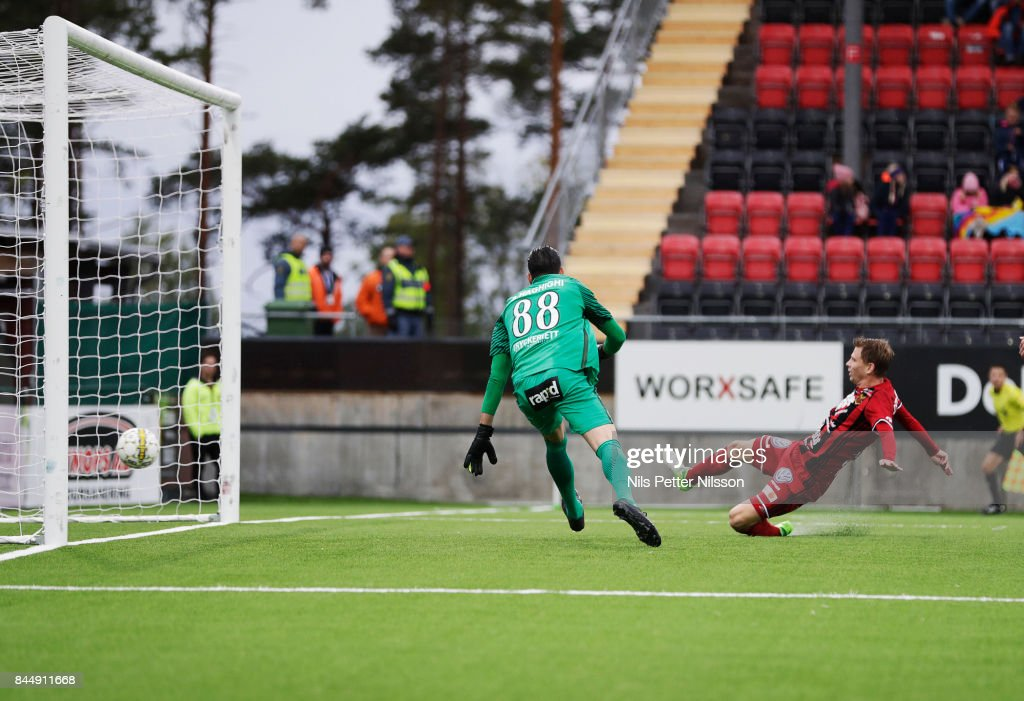 Johan Bertilsson of Oestersunds FK scores the decisive goal to 3-0during the Allsvenskan match between Ostersunds FK and Athletic FC Eskilstuna at Jamtkraft Arena on September 9, 2017 in Ostersund, Sweden.