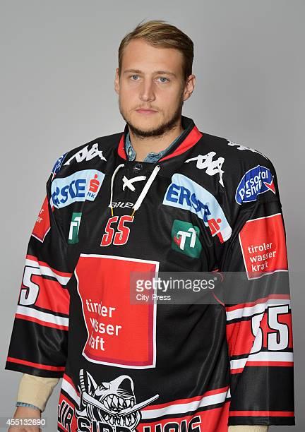 Johan Bjoerk of HC TWK Innsbruck during the action shot on august 14, 2014 in Innsbruck, Germany.