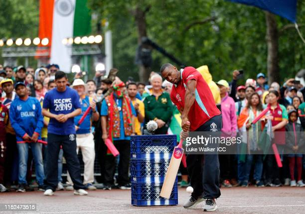 Johan Blake of West Indies bats during the ICC Cricket World Cup 2019 Opening Party at The Mall on May 29 2019 in London England