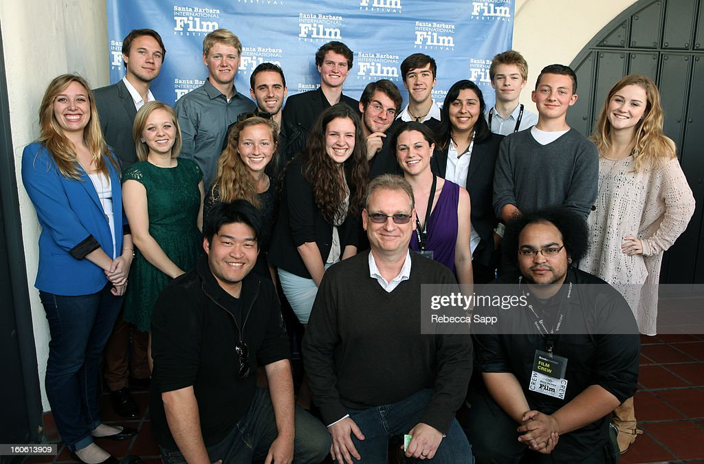 Johan Bodell, Kit Larson, Ben Goalabre, Jason Phreaner, Blake Benlan, Patrick Alcerro, Gabriella Guillen, Patrick Hall, Jackson Duneier, Kendall Weaver (Middle row left to right) Paula Ersly, Corie Anderson, Jillian Fisher, Genevieve Hatfield, Mia Bolton (Front row left to right) Kevin Huang, Jeffery Lovelace and Nick Funk attend the 28th Santa Barbara International Film Festival 10-10-10 Awards Ceremonyon February 3, 2013 in Santa Barbara, California.