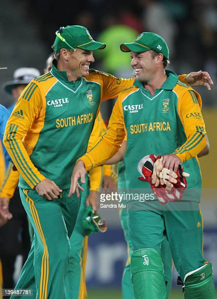 Johan Botha and Abraham de Villiers of South Africa celebrate their win during the International Twenty20 match between New Zealand and South Africa...