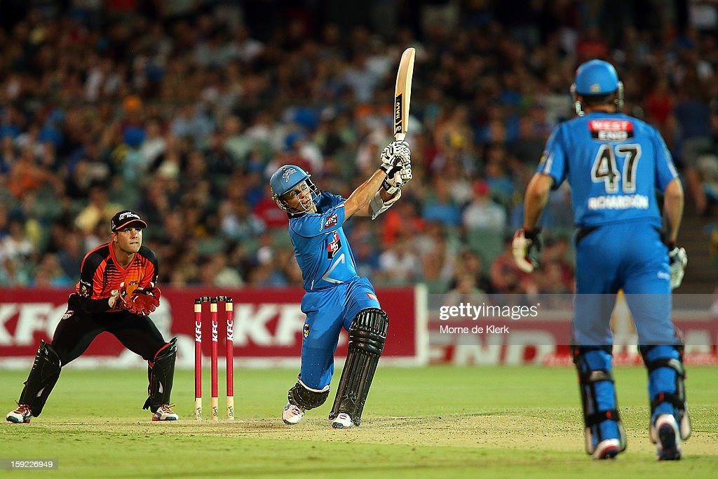 Johan Botha of Adelaide bats during the Big Bash League match between the Adelaide Strikers and the Perth Scorchers at Adelaide Oval on January 10, 2013 in Adelaide, Australia.
