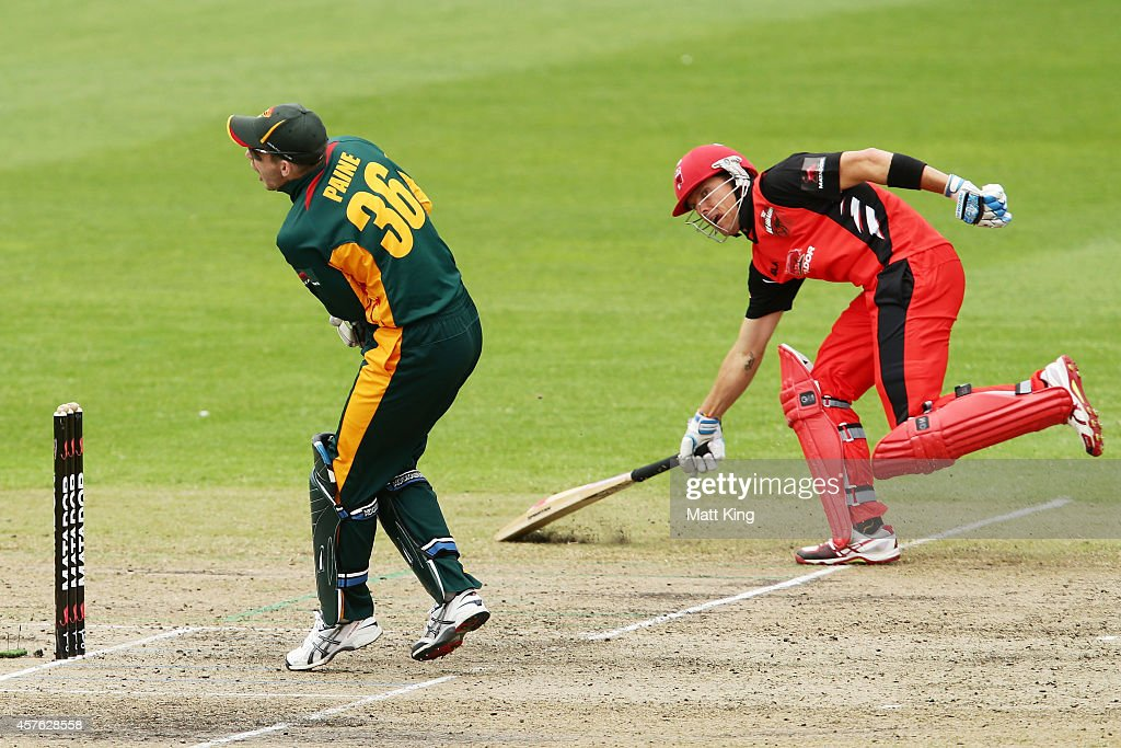 Johan Botha of the Redbacks gets home a Tim Paine of the Tigers keeps wicket during the Matador BBQs One Day Cup match between Tasmania and South Australia at North Sydney Oval on October 22, 2014 in Sydney, Australia.