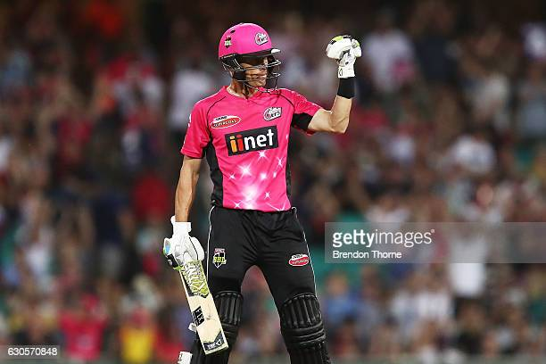 Johan Botha of the Sixers celebrates after hitting the winning runs during the Big Bash League match between the Sydney Sixers and Perth Scorchers at...