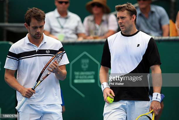 Johan Brunstrom of Sweden and Frederik Nielsen of Denmark during their doubles final against Colin Fleming of Great Britain and Bruno Soares of...