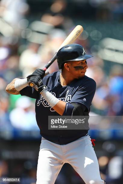 Johan Camargo of the Atlanta Braves bats against the New York Mets at Citi Field on May 3, 2018 in the Flushing neighborhood of the Queens borough of...