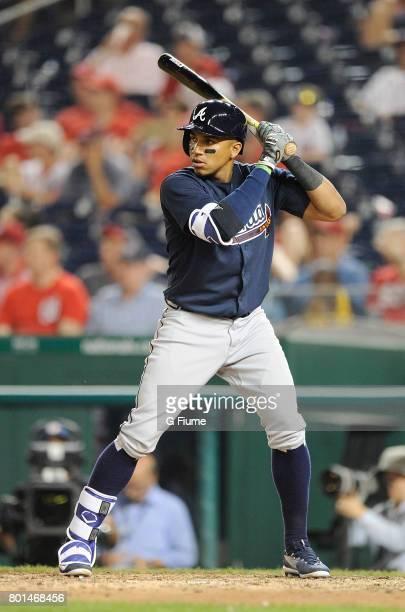 Johan Camargo of the Atlanta Braves bats against the Washington Nationals at Nationals Park on June 12, 2017 in Washington, DC.