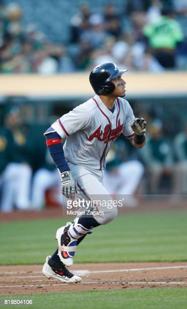 Johan Camargo of the Atlanta Braves bats during the game against the Oakland Athletics at the Oakland Alameda Coliseum on June 30 2017 in Oakland...