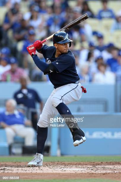 Johan Camargo of the Atlanta Braves bats during the game against the Los Angeles Dodgers at Dodger Stadium on June 9 2018 in Los Angeles California...