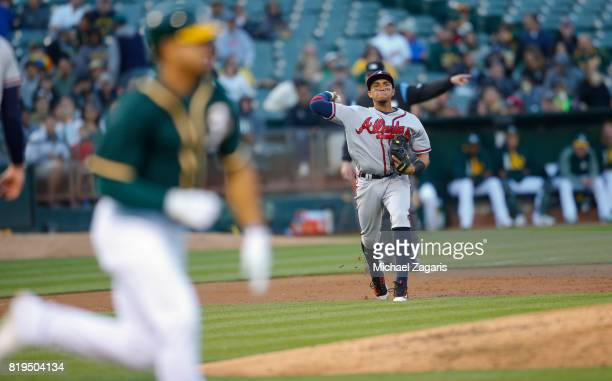 Johan Camargo of the Atlanta Braves fields during the game against the Oakland Athletics at the Oakland Alameda Coliseum on June 30 2017 in Oakland...