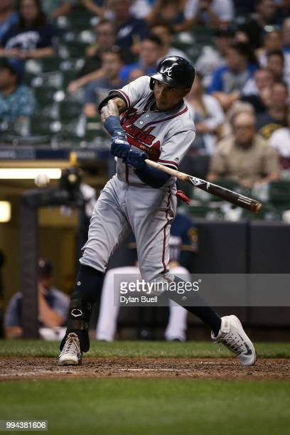 Johan Camargo of the Atlanta Braves grounds out in the seventh inning against the Milwaukee Brewers at Miller Park on July 5 2018 in Milwaukee...