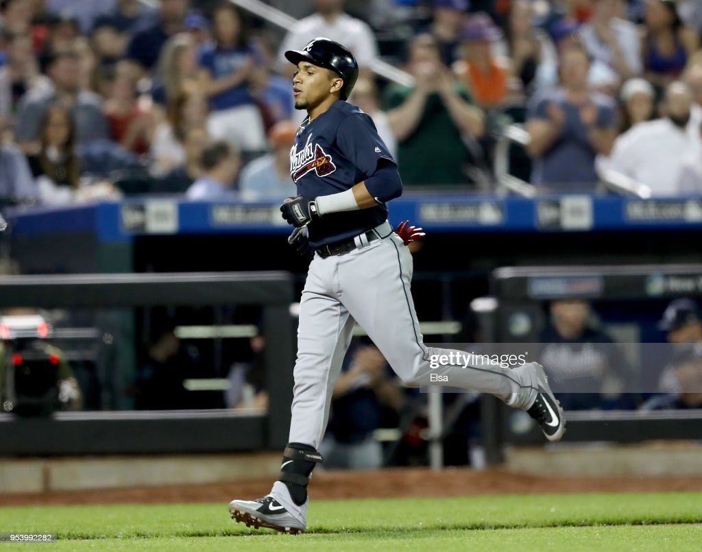 Johan Camargo #17 of the Atlanta Braves heads for home after his two run shot in the eighth inning against the New York Mets on May 2, 2018 at Citi Field in the Flushing neighborhood of the Queens borough of New York City.