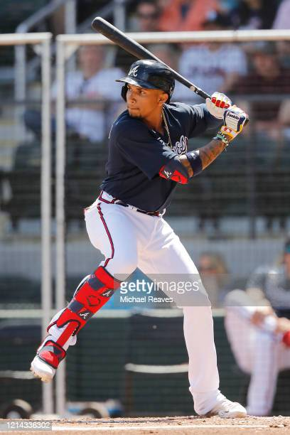 Johan Camargo of the Atlanta Braves in action against the Houston Astros during a Grapefruit League spring training game at CoolToday Park on March...