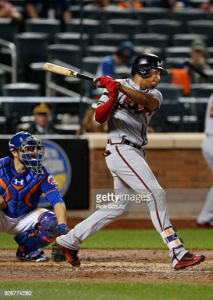 Johan Camargo of the Atlanta Braves in action against the New York Mets during the second game of a doubleheader at Citi Field on September 25 2017...