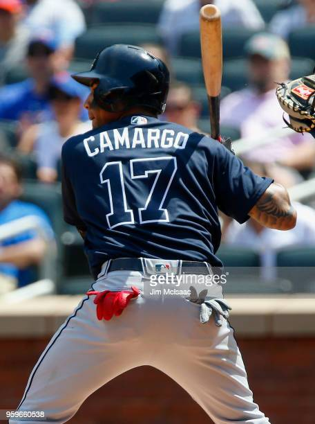 Johan Camargo of the Atlanta Braves in action against the New York Mets at Citi Field on May 3, 2018 in the Flushing neighborhood of the Queens...