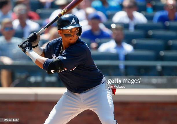 Johan Camargo of the Atlanta Braves in action against the New York Mets at Citi Field on May 3 2018 in the Flushing neighborhood of the Queens...