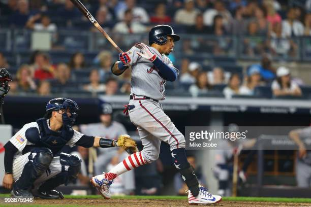 Johan Camargo of the Atlanta Braves in action against the New York Yankees at Yankee Stadium on July 3 2018 in the Bronx borough of New York City New...