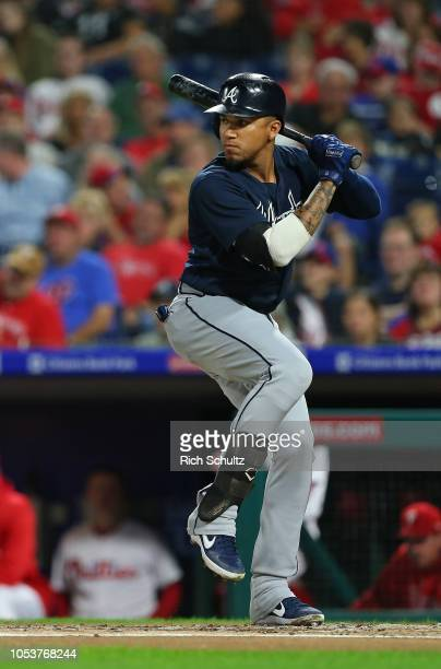 Johan Camargo of the Atlanta Braves in action against the Philadelphia Phillies during a game at Citizens Bank Park on September 29 2018 in...