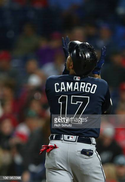 Johan Camargo of the Atlanta Braves in action against the Philadelphia Phillies during a game at Citizens Bank Park on September 28 2018 in...