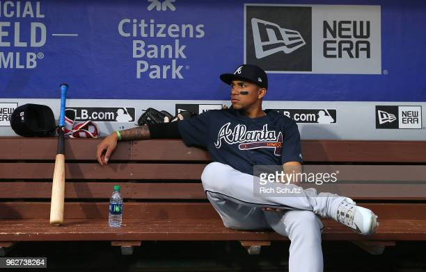 Johan Camargo of the Atlanta Braves in action before a game against the Philadelphia Phillies at Citizens Bank Park on May 22 2018 in Philadelphia...