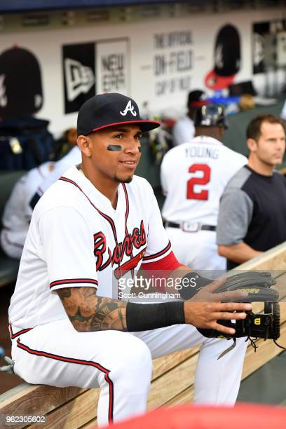 Johan Camargo of the Atlanta Braves in the dugout prior to the game against the San Francisco Giants at SunTrust Park on May 4 2018 in Atlanta Georgia