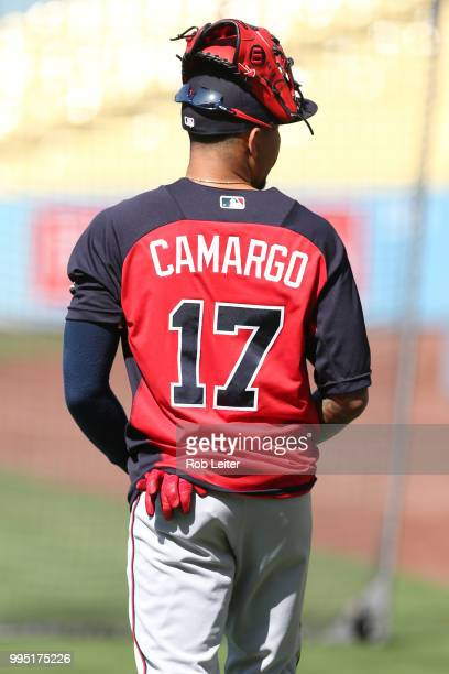 Johan Camargo of the Atlanta Braves looks on before the game against the Los Angeles Dodgers at Dodger Stadium on June 9 2018 in Los Angeles...