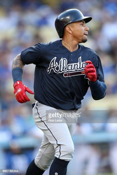 Johan Camargo of the Atlanta Braves looks on during the game against the Los Angeles Dodgers at Dodger Stadium on June 9 2018 in Los Angeles...