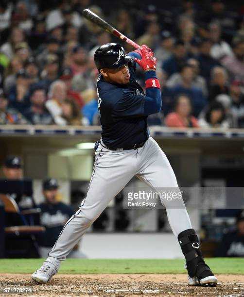 Johan Camargo of the Atlanta Braves plays during a baseball game against the San Diego Padres at PETCO Park on June 4, 2018 in San Diego, California.