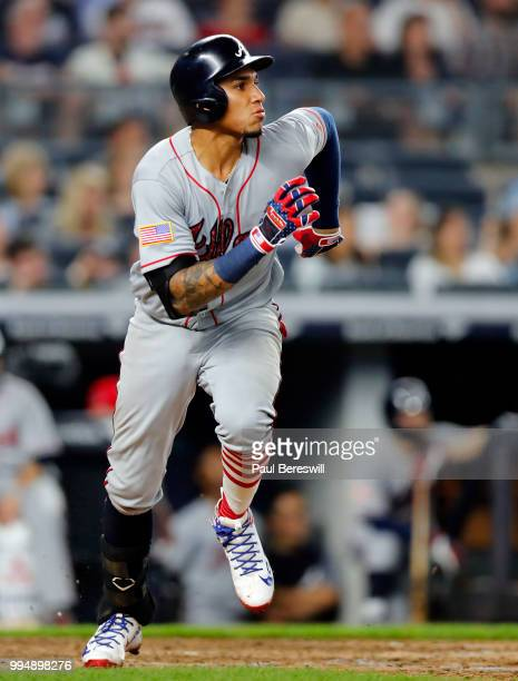 Johan Camargo of the Atlanta Braves runs up the line with a single in an interleague MLB baseball game against the New York Yankees on July 3 2018 at...