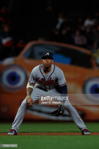 Johan Camargo of the Atlanta Braves stands on the field during the ninth inning against the San Francisco Giants at ATT Park on September 10 2018 in...