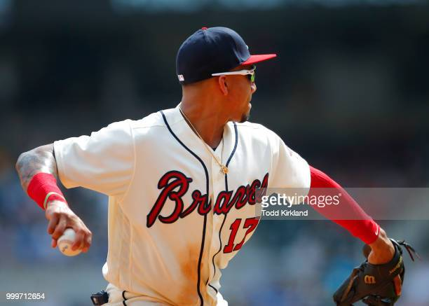 Johan Camargo of the Atlanta Braves throws to first in the ninth inning of an MLB game against the Arizona Diamondbacks at SunTrust Park on July 15...