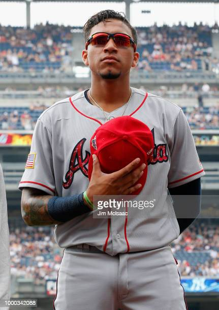 Johan Camargo of the Atlanta Braves warms up before a game against the New York Yankees at Yankee Stadium on July 4 2018 in the Bronx borough of New...
