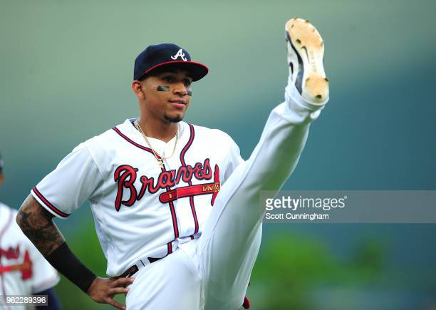 Johan Camargo of the Atlanta Braves warms up prior to the game against the San Francisco Giants at SunTrust Park on May 4 2018 in Atlanta Georgia