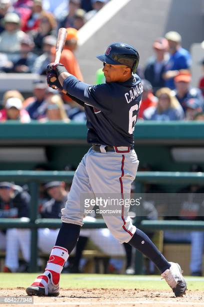 Johan Camargo of the Braves at bat during the spring training game between the Atlanta Braves and the Detroit Tigers on March 15, 2017 at Joker...