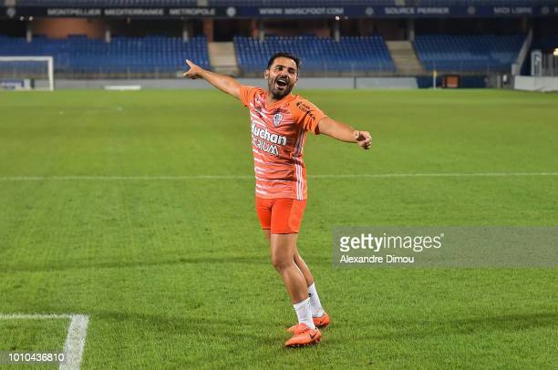 Johan Cavani of Ajaccio celebrates the Victory during the French Ligue 2 match between Beziers and AC Ajaccio at Stade de la Mediterranée on August 3...