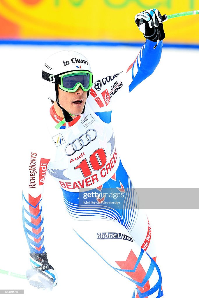 Johan Clarey #10 of France celebrates after crossing the finish line during the men's downhill on the Birds of Prey at the Audi FIS World Cup on December 2, 2011 in Beaver Creek, Colorado.